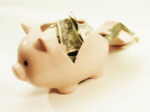 Replace the piggy bank with monthly income investments.
