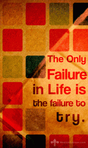 The only failure in life is the failure to try.