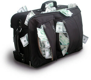 Small Business Loan - Suitcase full of money.