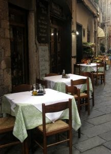 Saving money when dining out. Restaurant tables in street.