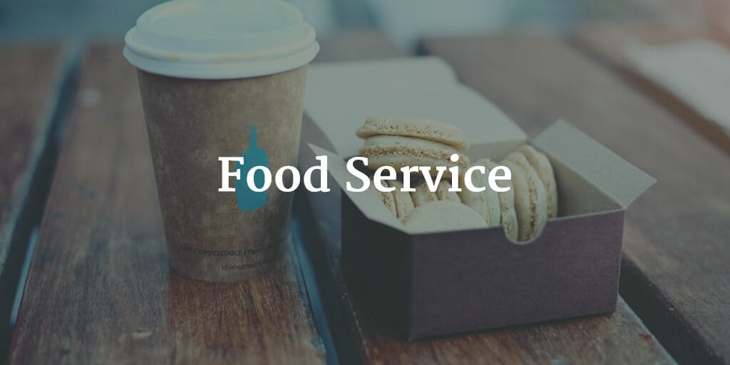 "Photo of a coffee and small box of macarons on a wood picnic table with the text ""Food Service"" super-imposed over it. Even though restaurants are expensive, it doesn't mean there aren't tons of opportunities for small scale business ideas in the food industry!"
