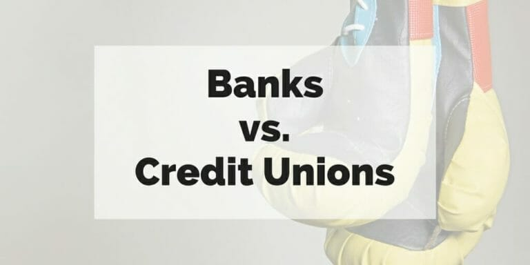 Banks vs Credit Unions superimposed over picture of boxing gloves.