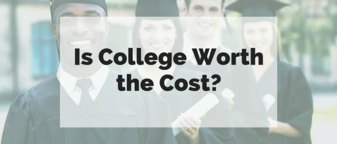 "College graduates staggered in a line with the text ""Is college worth the cost?"" super-imposed over the image."