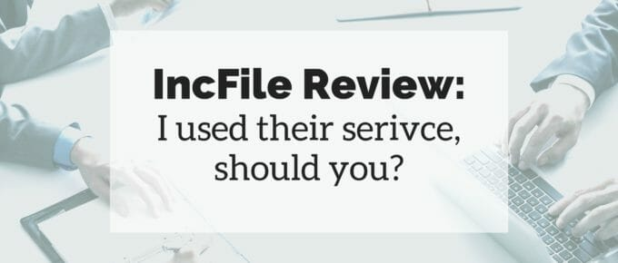 "Photo of business people with text ""IncFile Review"" superimposed over the photo."