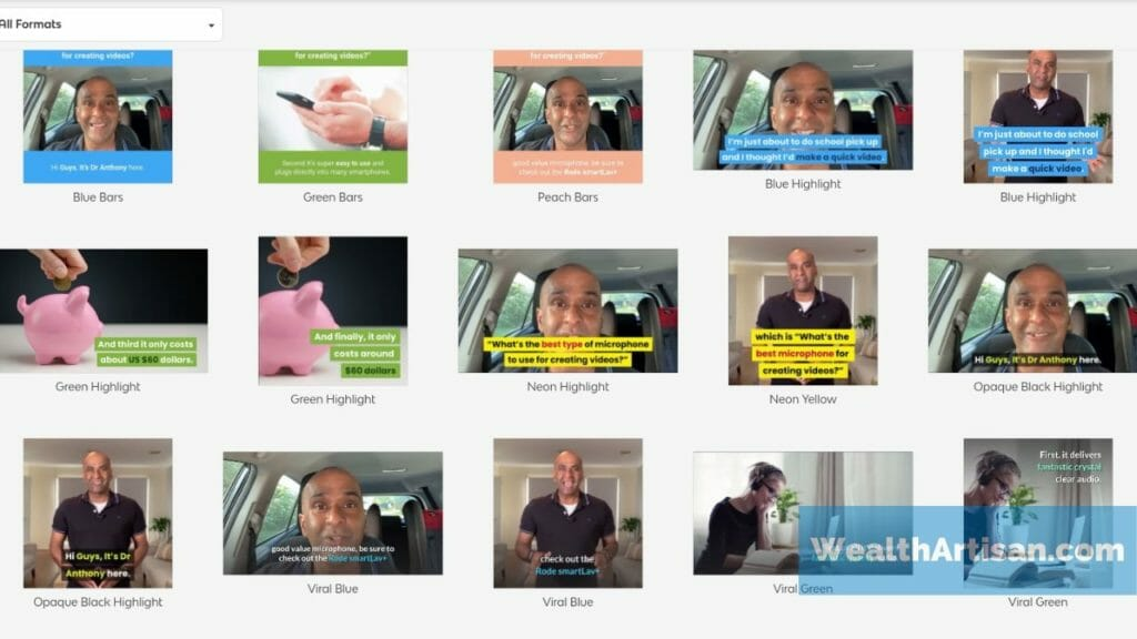 "Screenshot of Vidnami's ""influencer video"" style templates."