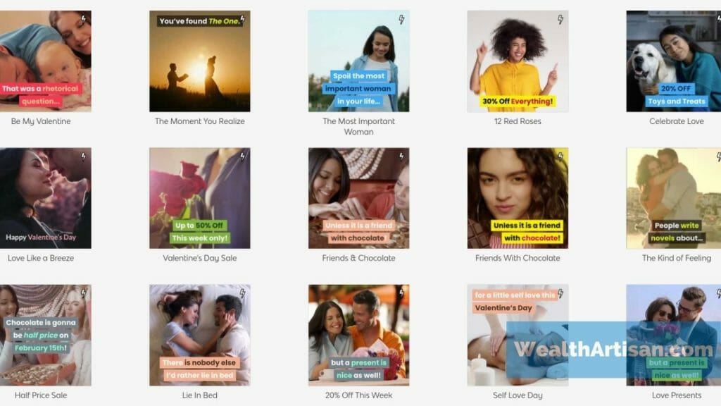 "Screenshot of Vidnami's ""instant ad"" templates for making advertisements quickly."