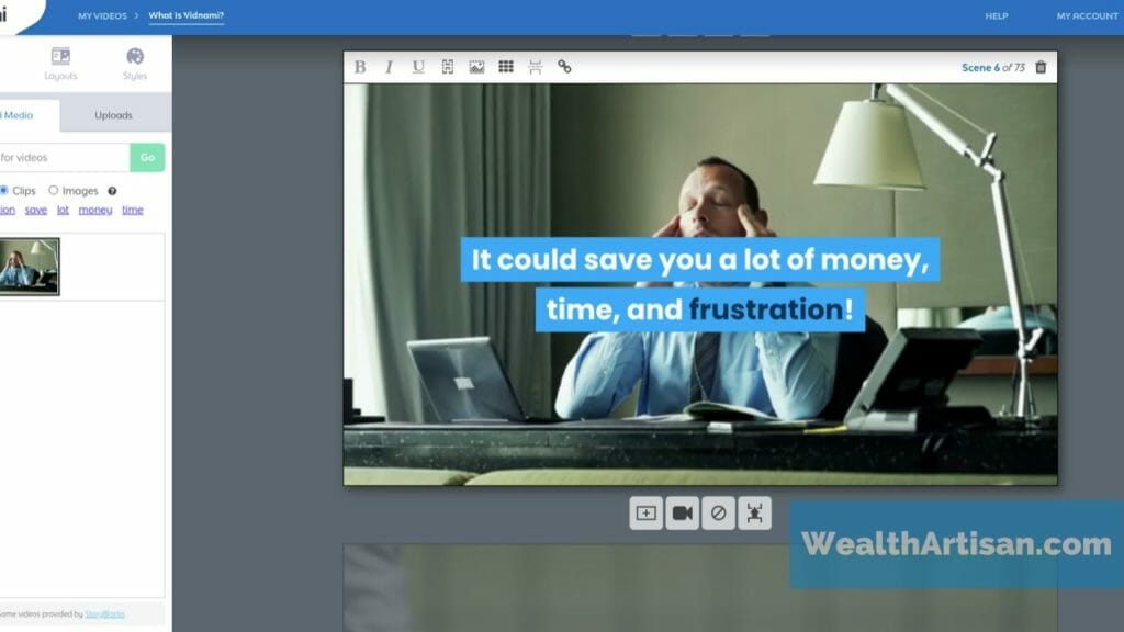 Example image: screenshot of the Vidnami video editor with sample slide.