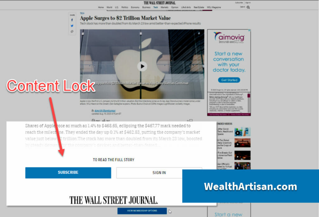Content locking example from Wall Street Journal via WealthArtisan.com