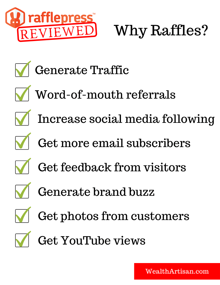 List of benefits to running raffles and giveaways on your website. You can generate traffic, referrals, social media followers, email subscribers, feedback, brand buzz, YouTube views, and more!