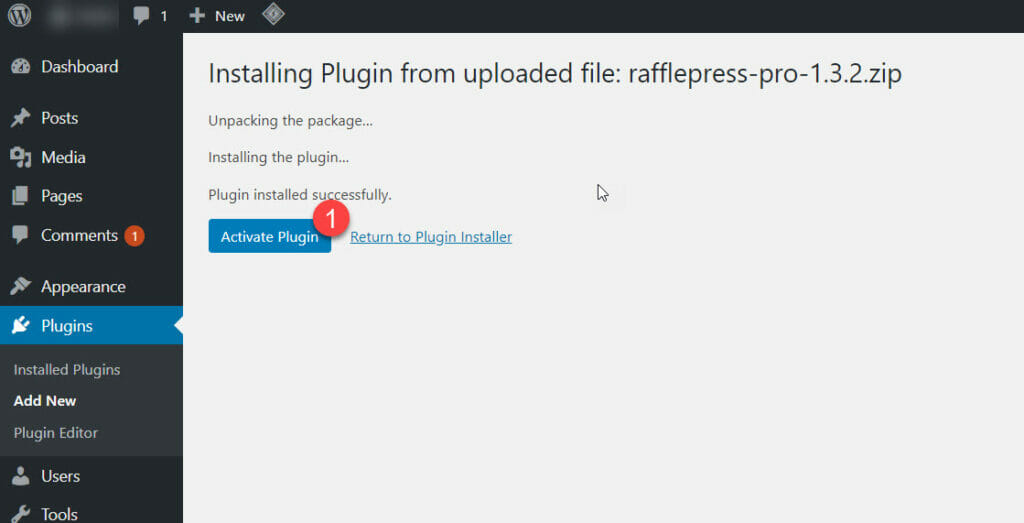 Activating the RafflePress plugin in WordPress.