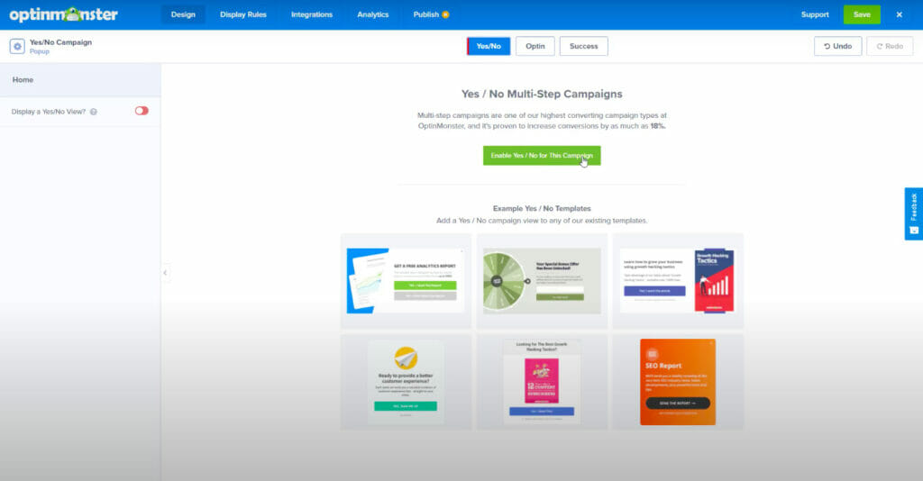 OptinMonster optin builder - enable yes/no multistep campaign