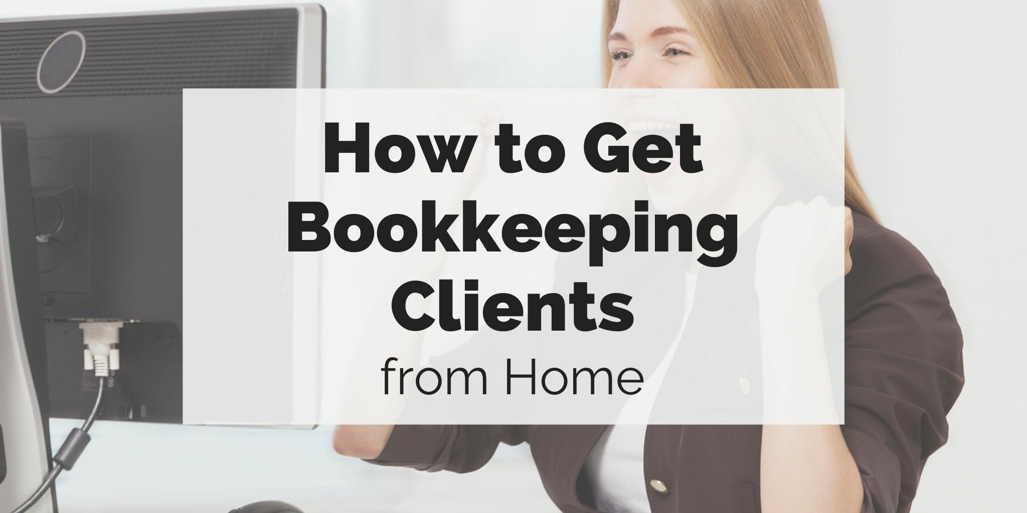 woman on her computer excited to get bookkeeping clients